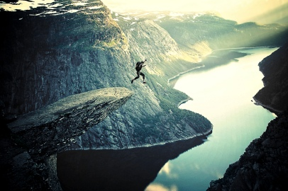 BASE Jumping off Trolltunga - Extreme Sports in Norway