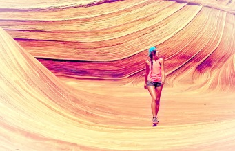 Young Woman Exploring Canyon - Vitality and Adventure