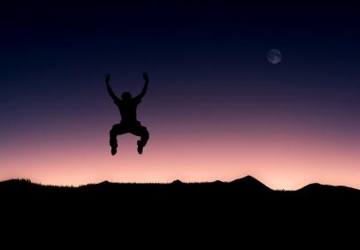 Illustration of a man jumping full of joy