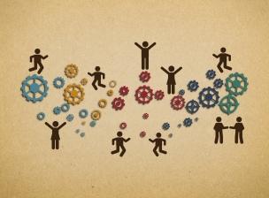 Workforce teamwork within an organization - Concept