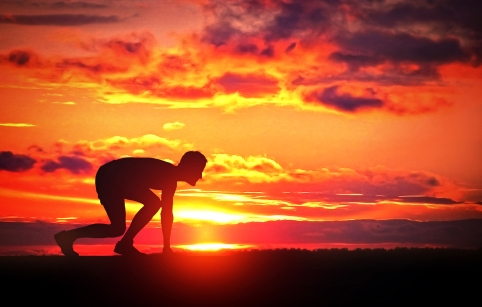 Healthy Young Runner at Sunrise - Challenge Yourself