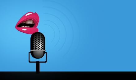 Speaking - Mouth and Microphone - With Copyspace